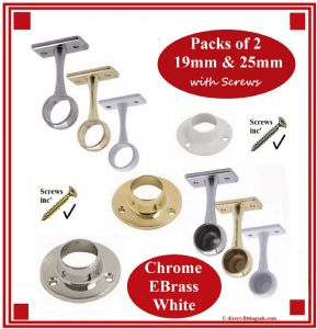 CHROME/EBRASS Pole/Rail end/centre Sockets/supports. 19mm/25mm. 1-10 pairs